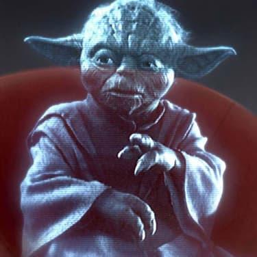 Maître Yoda sous la forme d'un hologramme, en plein haut conseil des Jedi, dans le film Star Wars : Episode III - La Revanche des Sith.