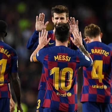 Les joueurs du FC Barcelone lors du match face au FC Séville au Camp Nou, le 6 octobre 2019