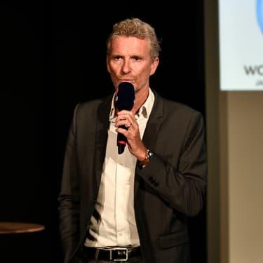 Denis Brogniart lors de la conférence de presse pour la coupe du monde de rugby 2019.