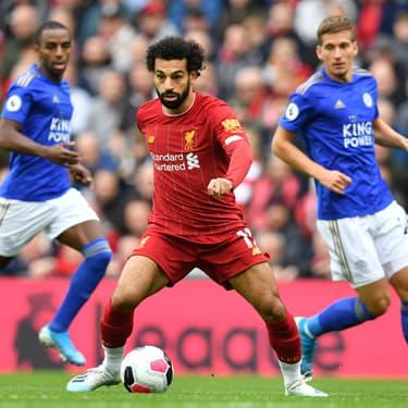 Salah face aux défenseurs de Leicester lors du match aller entre les deux équipes à Liverpool, le 5 octobre 2019