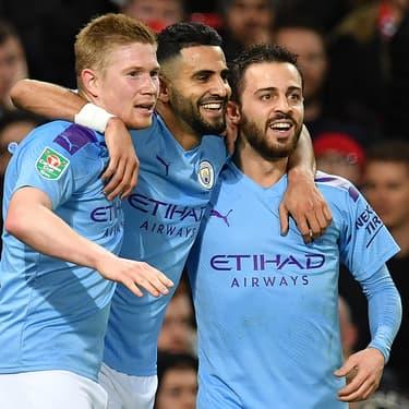 De Bruyne, Mahrez et Bernardo Silva lors de Manchester United - Manchester City, le 7 janvier 2020