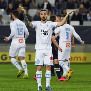 Benedetto et les joueurs de l'OM lors du match à Bordeaux, le 2 février 2020
