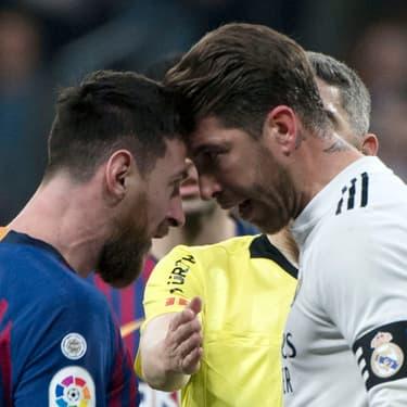 Lionel Messi et Sergio Ramos échangent des mots doux pendant Real Madrid-FC Barcelone, le 2 mars 2019 à Madrid
