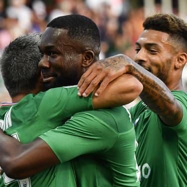 Les joueurs de l'AS Saint-Étienne lors du déplacement à Dijon en Ligue 1, le 10 août 2019
