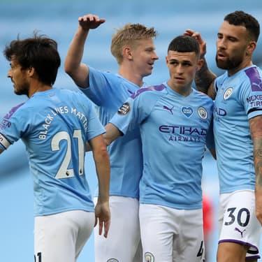 Phil Foden et ses partenaires de Manchester City lors de la victoire 5-0 face à Burnley, le 22 juin 2020
