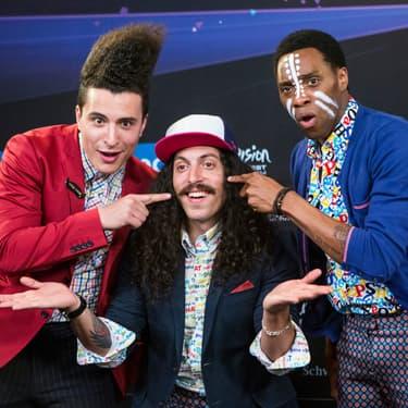 """Les membres du groupe Twin Twin, représentant pour la France ua concours de l'Eurovision en 2014 avec leur chanson """"Moustache""""."""