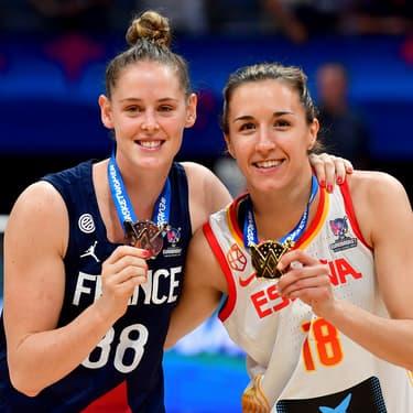 La Française Sara Chevaugeon et l'Espagnole Queralt Casas avec leurs médailles : Argent pour la première, Or pour la seconde
