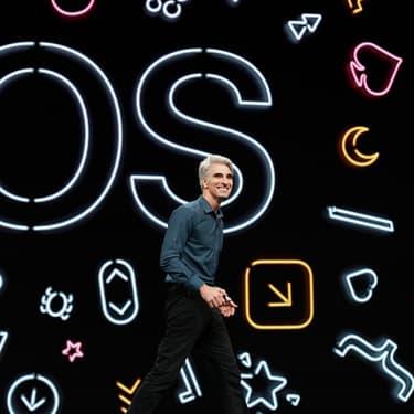 Craig Federighi, vice-président de l'ingénierie logicielle chez Apple, vient présenter ke tout nouveau iOS 13, lors de la WWDC 2019.