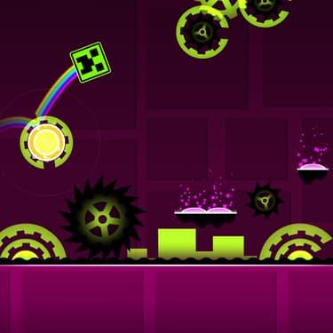 Un cube, de la musique électro, voilà la recette du jeu mobile Geometry Dash.