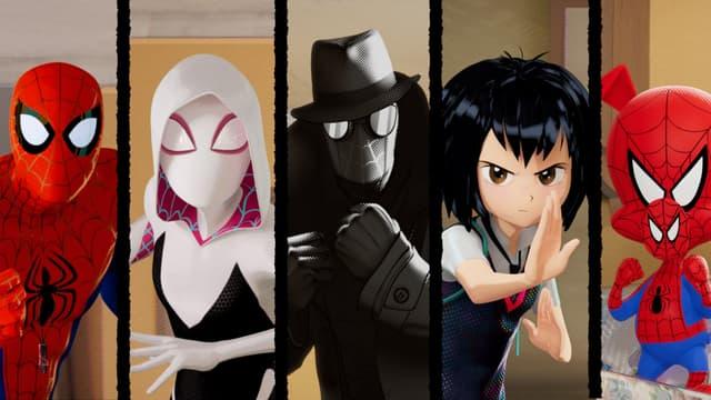 De gauche à droite, Miles Morales, Peter Parker,  Spider-Gwen, Spider-Man Noir, Peni Parker et Peter Porker, les protagonistes du film Spider-Man : New Generation.