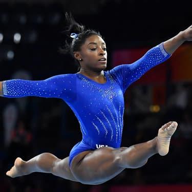 Simone Biles à l'entraînement pendant les Mondiaux de gymnastique artistique à Stuttgart, le 1er octobre 2019.