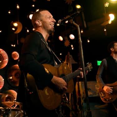 Chris Martin, du groupe Coldplay lors de l'inauguration du HD Radio Sound Space chez Entercom, à Los Angeles, le 17 janvier 2020.