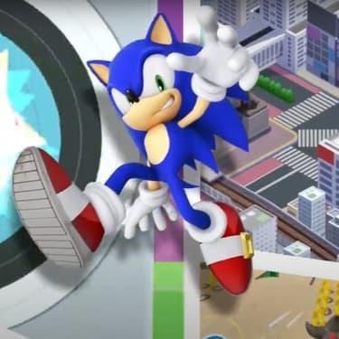 """Sonic, toujours dans la course et au cœur d'un nouveau jeu mobile, """"Sonic aux Jeux Olympiques de Tokyo 2020"""" (capture écran)."""