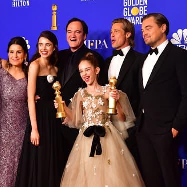 "L'équipe du film ""Once Upon a Time... in Hollywood"", triomphante aux Golden Globes, à Beverly Hills, le 5 janvier 2020."
