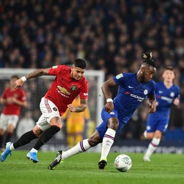 Les joueurs de Chelsea et Manchester United lors du match aller à Old Trafford, le 30 octobre 2019