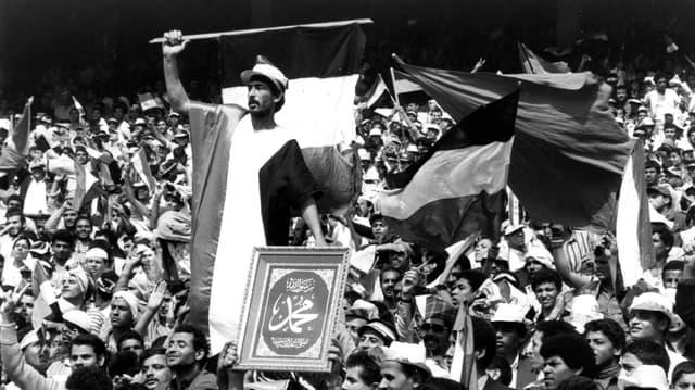 Photo d'archive prise au Stade International du Caire, prêtée à l'exposition par le Musée du Football mondial de la FIFA.