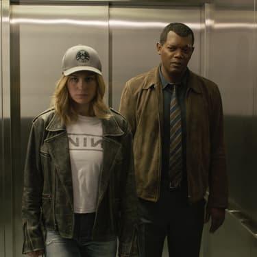 Nick Fury (Samuel L. Jackson) aux côté de Carol Danvers  (Brie Larson) dans Captain Marvel.