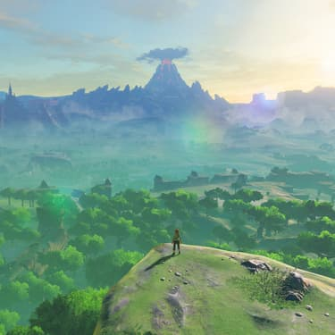 Link, héros de The Legend of Zelda: Breath of the Wild, sur Nintendo Switch, face à son gigantesque monde ouvert.