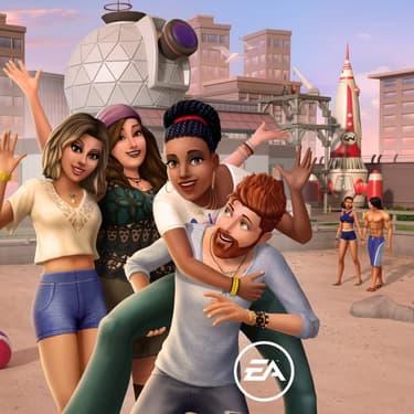 Les personnages se réjouissent de l'arrivée du quartier Bord de mer dans Les Sims Mobile.