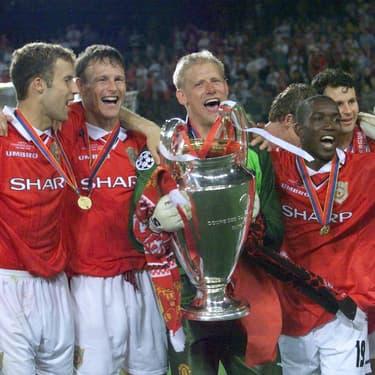Les joueurs de Manchester United lors de la victoire en Ligue des Champions face au Bayern Munich (2-1) le 26 mai 1999