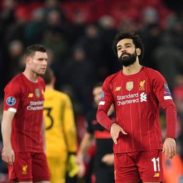Les joueurs de Liverpool après leur élimination en Ligue des Champions contre l'Atlético Madrid, le 11 mars 2020 à Anfield Road