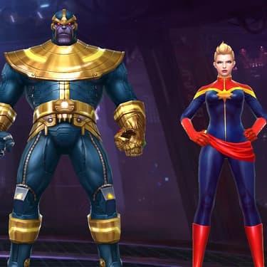 Thanos, Captain Marvel et Iron Man, personnages jouables du jeu mobile Marvel Future Fight.