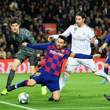Messi et Ramos lors du match aller entre le Real Madrid et le FC Barcelone (0-0), le 18 décembre 2019 à Barcelone